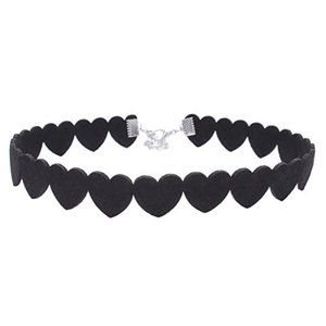 *NEW* Lace Heart Leather Velvet Choker Necklace